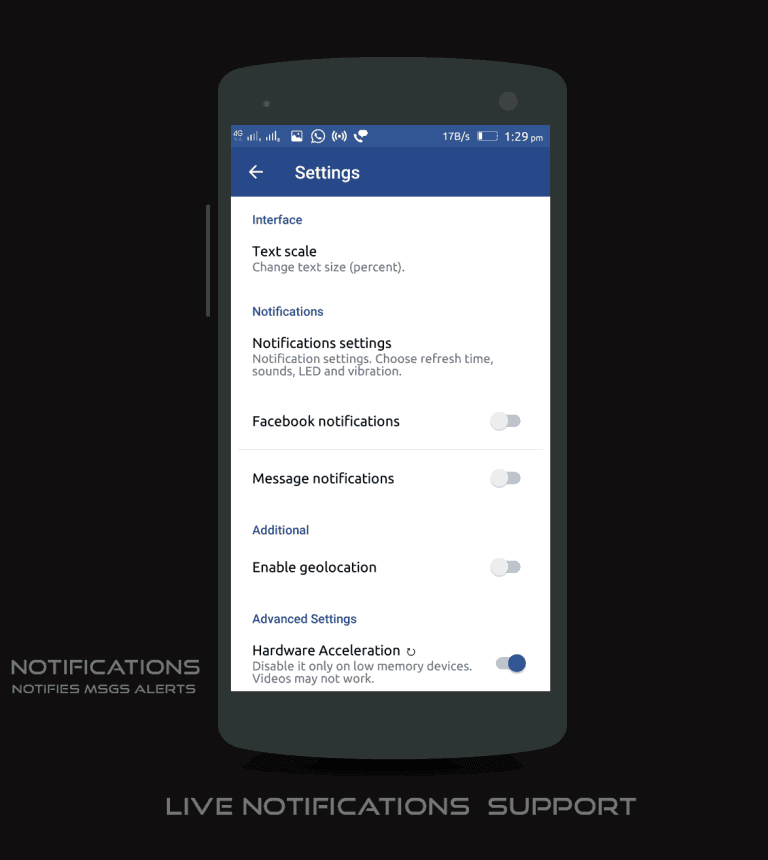 Facebook lite Notification